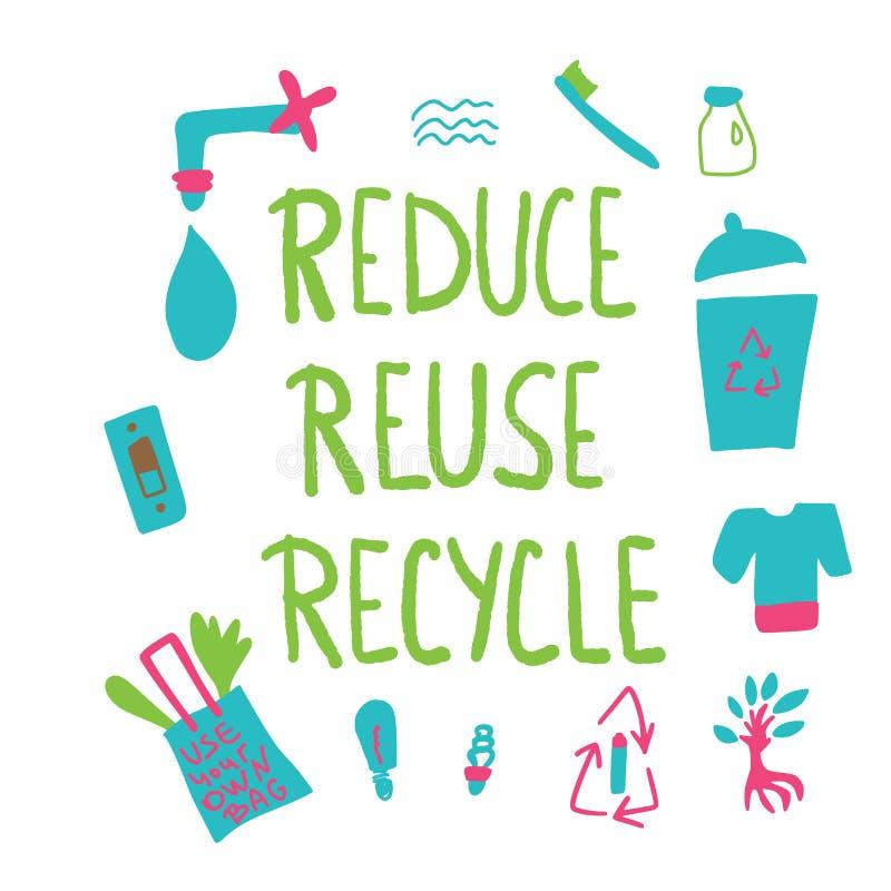 Riduca la riutilizzazione riciclano il concetto Disegno di vettore illustrazione vettoriale