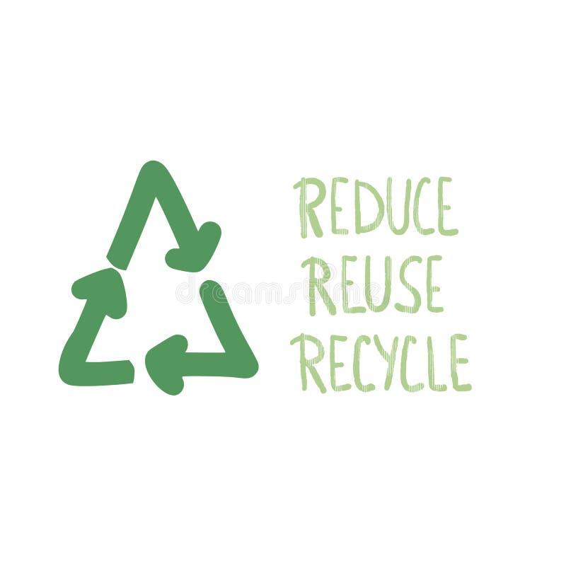 Riduca la riutilizzazione riciclano il concetto Progettazione del testo di vettore illustrazione vettoriale