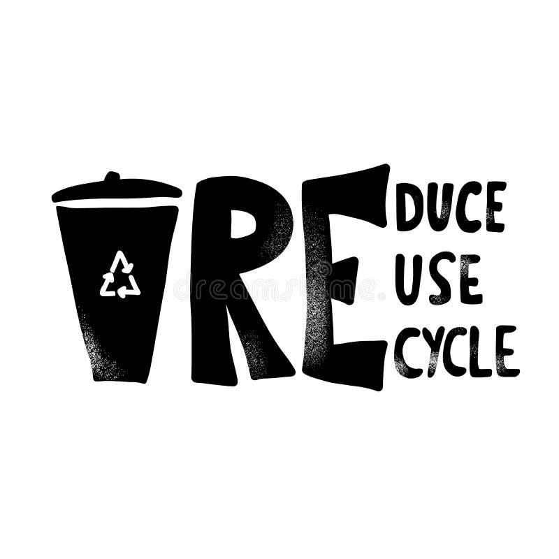 Riduca la riutilizzazione riciclano il concetto Progettazione del testo di vettore illustrazione di stock