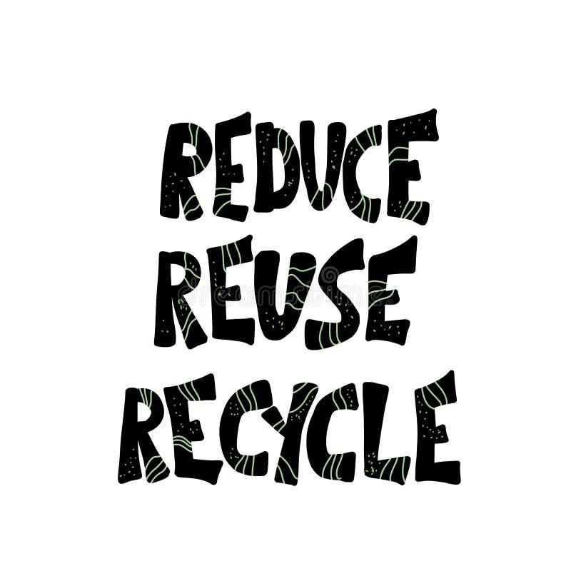 Riduca la riutilizzazione riciclano il concetto Progettazione del testo di vettore royalty illustrazione gratis