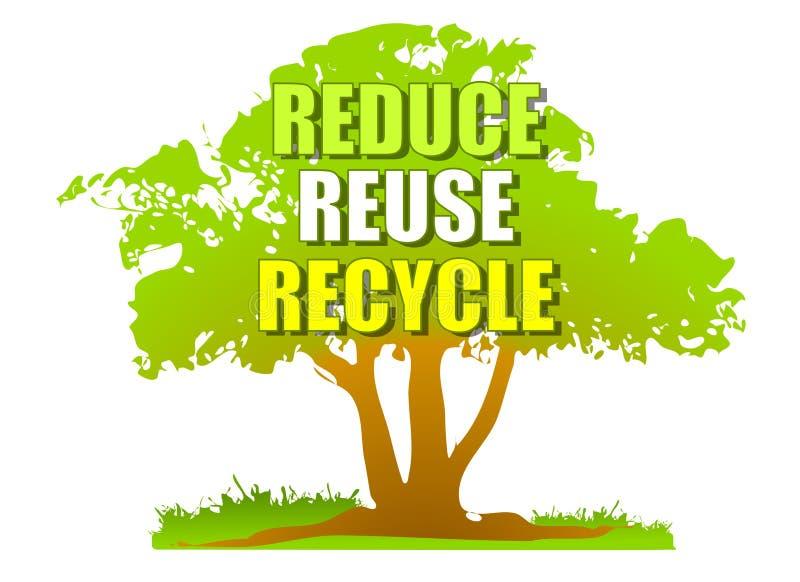 Riduca la riutilizzazione riciclano l'albero verde royalty illustrazione gratis