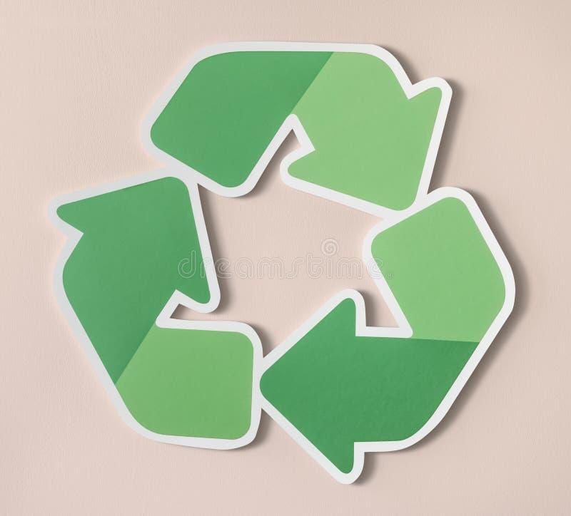 Riduca la riutilizzazione riciclano l'icona di simbolo fotografia stock