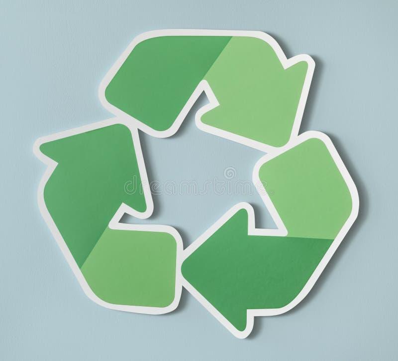 Riduca la riutilizzazione riciclano l'icona di simbolo isolata su fondo blu-chiaro immagini stock libere da diritti