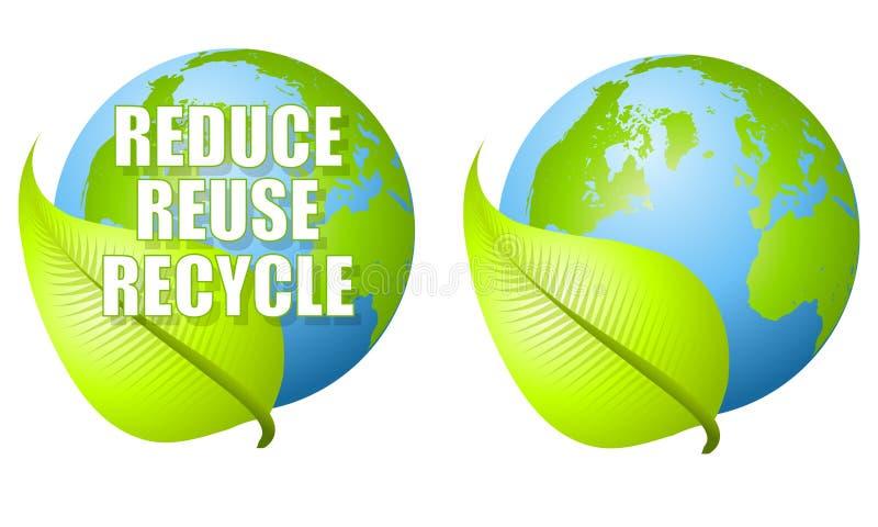 Riduca la riutilizzazione riciclano la terra del foglio illustrazione vettoriale