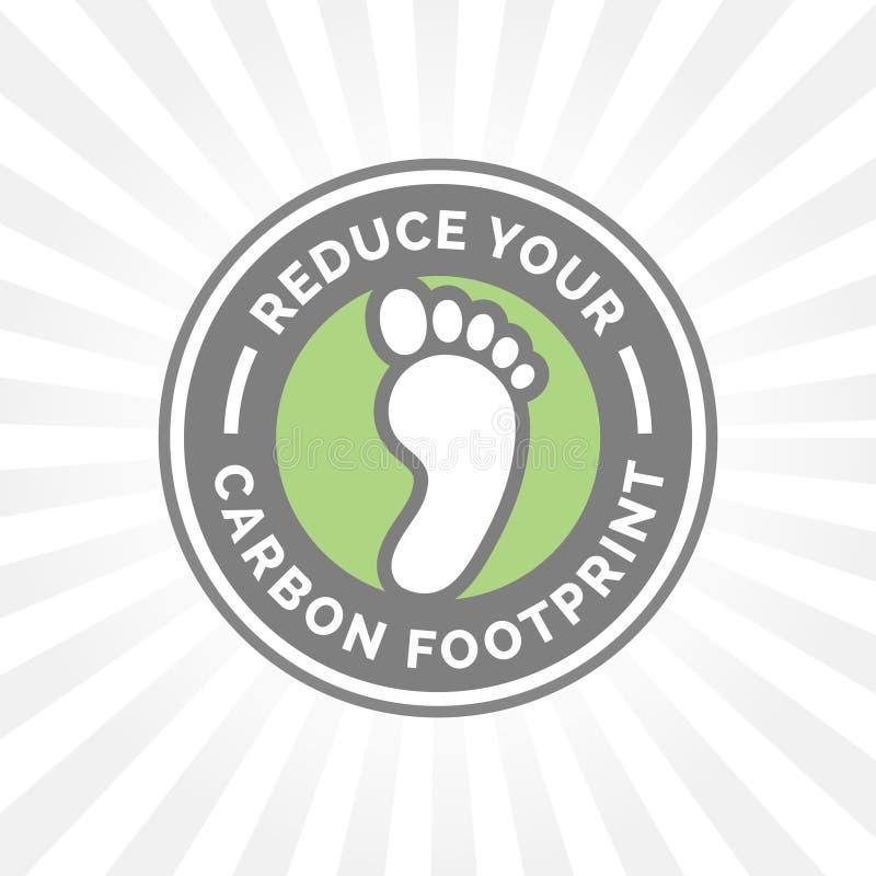 Riduca la vostra icona di orma del carbonio con il distintivo verde del piede dell'ambiente royalty illustrazione gratis