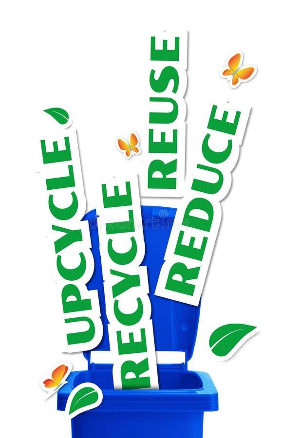 Riduca, riutilizzi, Upcycle, ricicli illustrazione vettoriale