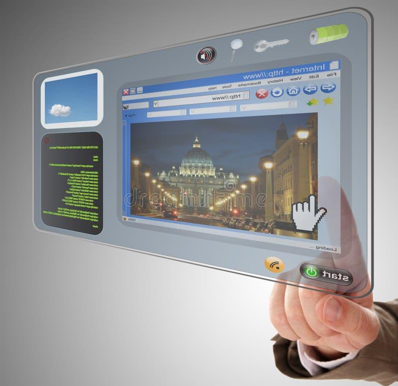 Ridurre in pani dello schermo attivabile al tatto di informazioni immagine stock