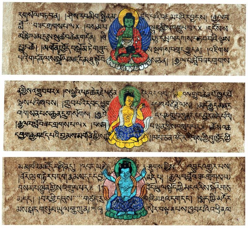 Ridurre in pani Sanskrit tibetani di preghiera fotografie stock