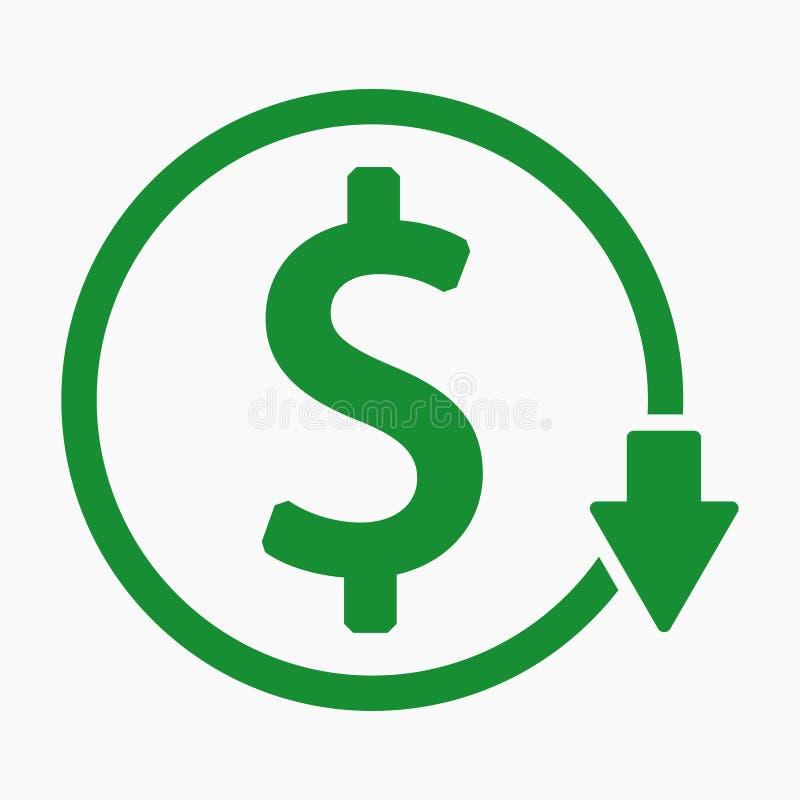 Riduzione dei costi o dollaro di rase giù progettazione royalty illustrazione gratis
