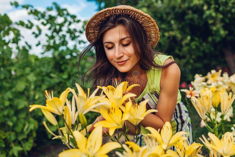 Riechende Blumen der jungen Frau im Garten Gärtner, der um Lilien sich kümmert Im Garten arbeitenkonzept stockbilder