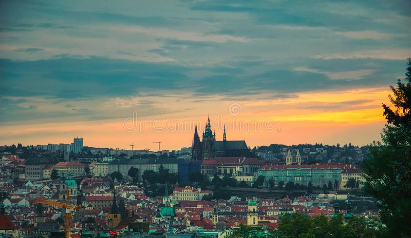 Riegrovy sady view of Prague Castle stock images
