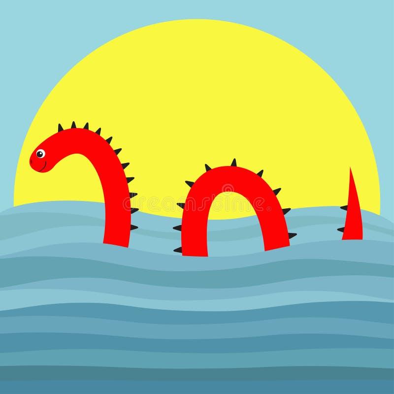 Riegue al monstruo con las espinas, ojo, puesta del sol flotante de la ola oceánica del mar de la natación de la cola forma de la libre illustration