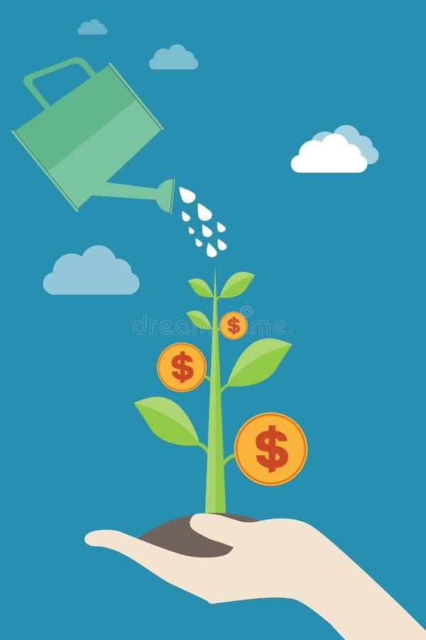 Riegue el árbol de colada del dinero - desarrollo económico, crecimiento monetario, finanzas e inversión, beneficios, creativ del libre illustration