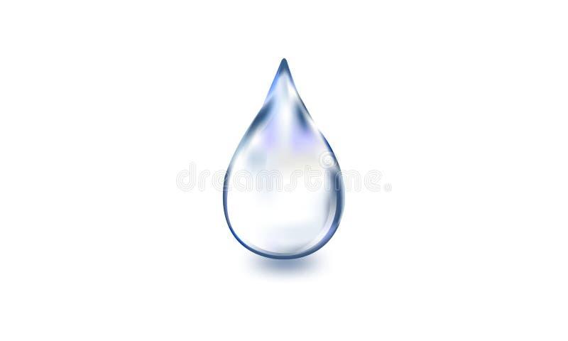 Riegue el descenso, solo descenso realista del agua en el fondo blanco, ejemplo del vector, stock de ilustración