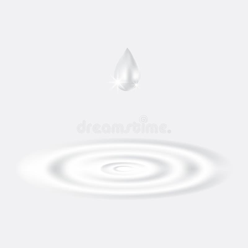 Riegue el goteo en el agua del chapoteo en el fondo blanco stock de ilustración