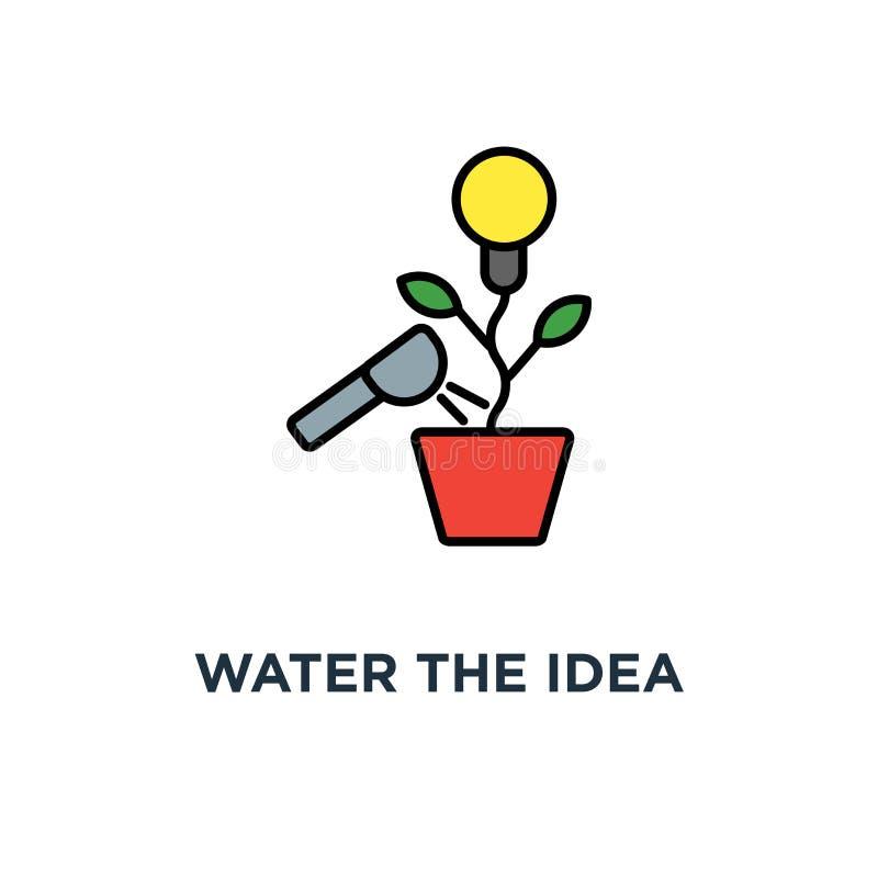 riegue el icono de la idea el diseño creativo del símbolo del concepto, generación de idea, la idea, bombilla como planta crece e ilustración del vector
