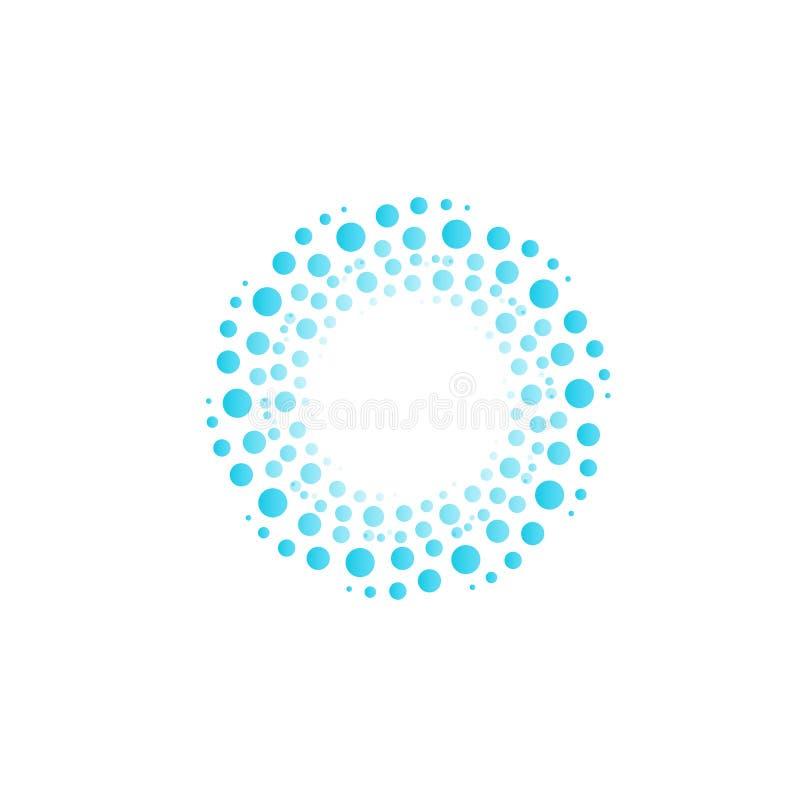 Riegue el vórtice de los círculos azules, burbujas, descensos Logotipo abstracto del vector del círculo ilustración del vector