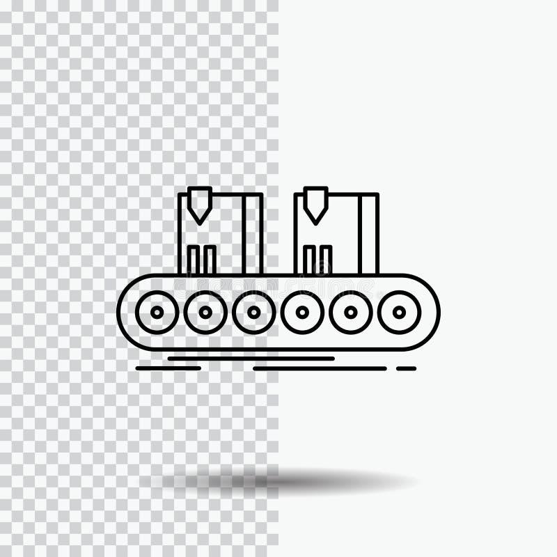 Riem, doos, transportband, fabriek, het Pictogram van de lijnlijn op Transparante Achtergrond Zwarte pictogram vectorillustratie vector illustratie