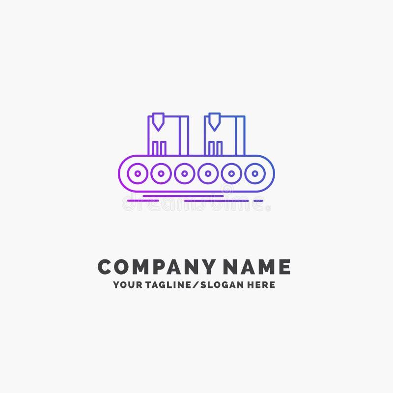 Riem, doos, transportband, fabriek, lijn Purpere Zaken Logo Template Plaats voor Tagline vector illustratie