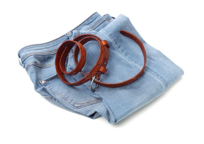 Riem en jeans royalty-vrije stock fotografie