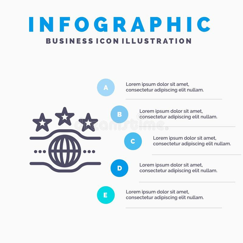 Riem, Kampioen, Kampioenschap, het pictogram van de Sportlijn met infographicsachtergrond van de 5 stappenpresentatie stock illustratie