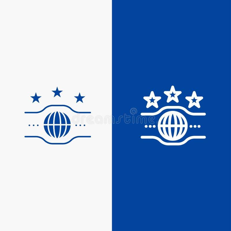 Riem, Kampioen, Kampioenschap, Sportlijn en Lijn van de het pictogram Blauwe banner van Glyph de Stevige en Stevige het pictogram vector illustratie