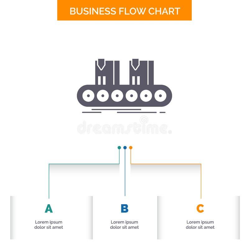 Riem, vakje, transportband, fabriek, het Ontwerp lijn van de Bedrijfsstroomgrafiek met 3 Stappen Glyphpictogram voor Presentatie  vector illustratie