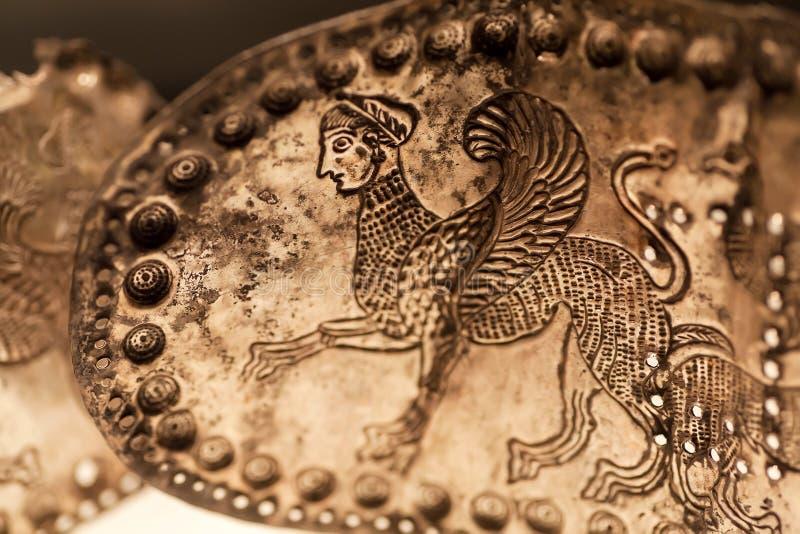 Riem van metaal in begrafenis van gebied Vani, de 4de eeuw art. BC wordt gevonden dat Artefact bewaard door Georgisch Nationaal M royalty-vrije stock afbeelding