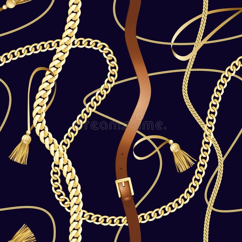 Riemen en het gouden naadloze patroon van de kettingsluxe royalty-vrije illustratie
