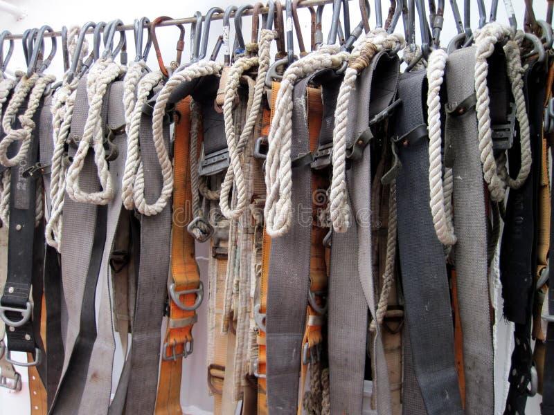 Riemen in varend schip stock foto