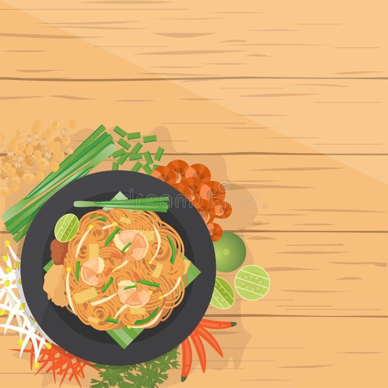 Riempia e tailandese tagliatelle soffritte lo stile tailandese, con gli ingredienti royalty illustrazione gratis