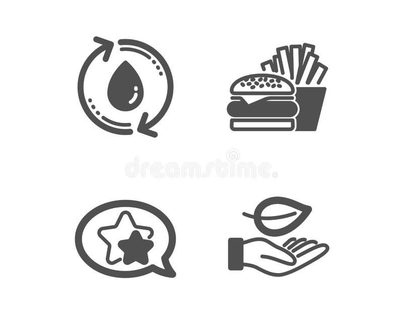 Riempia l'acqua, le icone della stella e dell'hamburger segno della foglia Ricicli l'acqua, il cheeseburger, favorito cura della  royalty illustrazione gratis