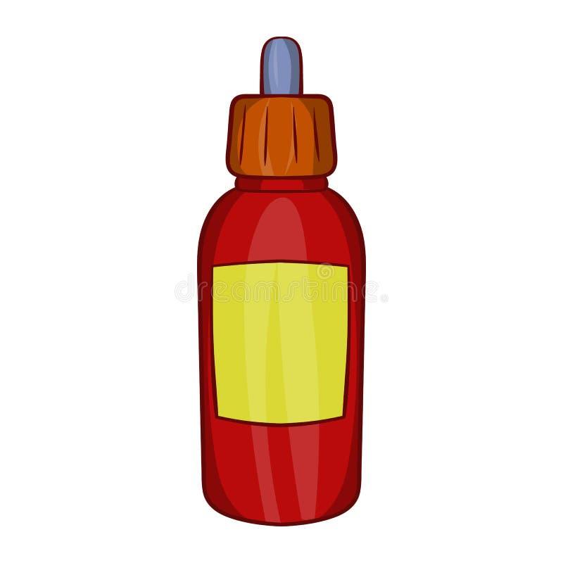 Riempia la bottiglia con l'icona della pipetta, stile del fumetto illustrazione vettoriale