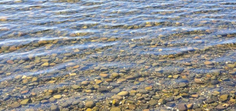Riempimenti d'acqua sulla spiaggia con rocce al di sotto immagini stock