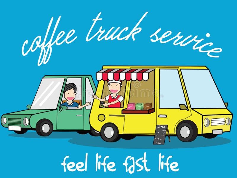Riempimento dello stile di vita al furgone del caffè di servizio illustrazione di stock