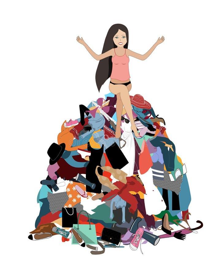 Rien à porter le concept, jeune allocation des places soumise à une contrainte attrayante de femme dans une pile des vêtements ma illustration stock