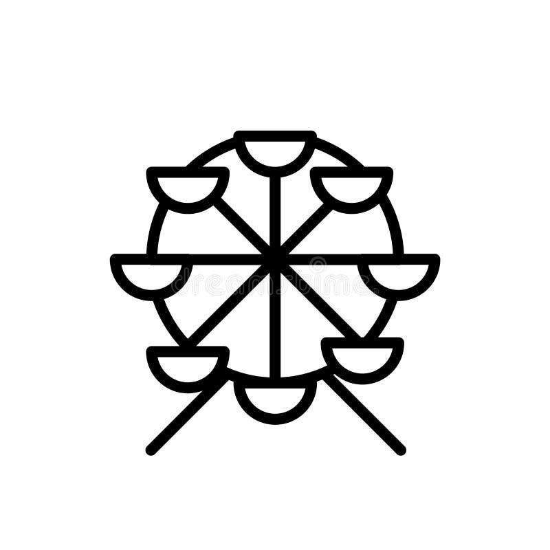 Riesenrad-Ikonenvektor lokalisiert auf weißem Hintergrund-, Riesenradzeichen, Linie oder linearem Zeichen, Elemententwurf in der  lizenzfreie abbildung