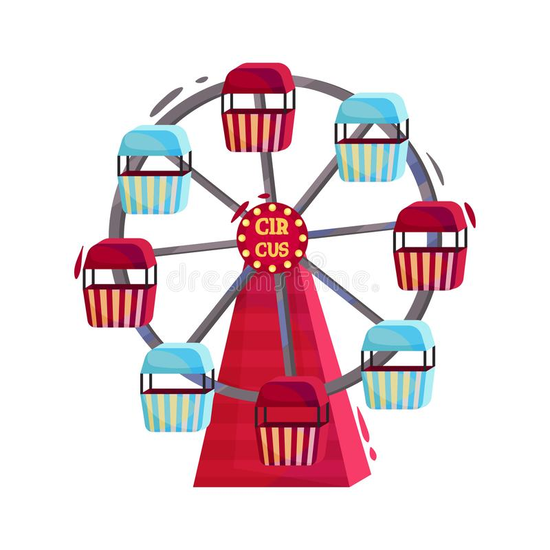 Riesenrad mit den roten und blauen Kabinen Karussell des Vergnügungsparks Spaßmesseanziehungskraft Flaches Vektordesign stock abbildung