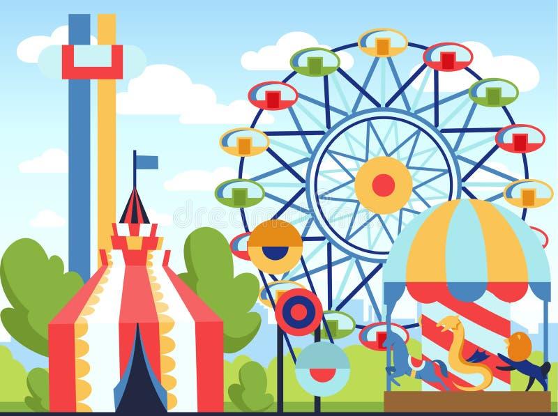 Riesenrad an night Spaßpark-Vektorthema, Kinderkarnevalsunterhaltungen Tages, Kinder, die Anziehungskraftkarikatur unterhalten lizenzfreie abbildung