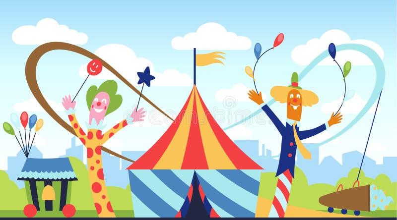 Riesenrad an night Spaßpark-Vektorthema, Kinderkarnevalsunterhaltungen Tages, Kinder, die Anziehungskraftkarikatur unterhalten stock abbildung