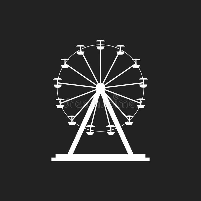 Riesenrad-Vektorikone Karussell in der Parkikone Unterhaltungsfahrillustration vektor abbildung
