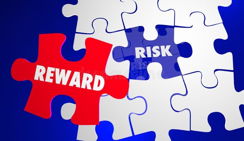 Riesgo contra la recompensa ROI Return Investment Puzzle stock de ilustración
