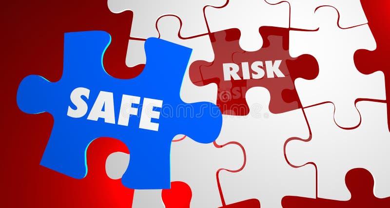 Riesgo contra pedazo peligroso seguro del rompecabezas de la seguridad ilustración del vector