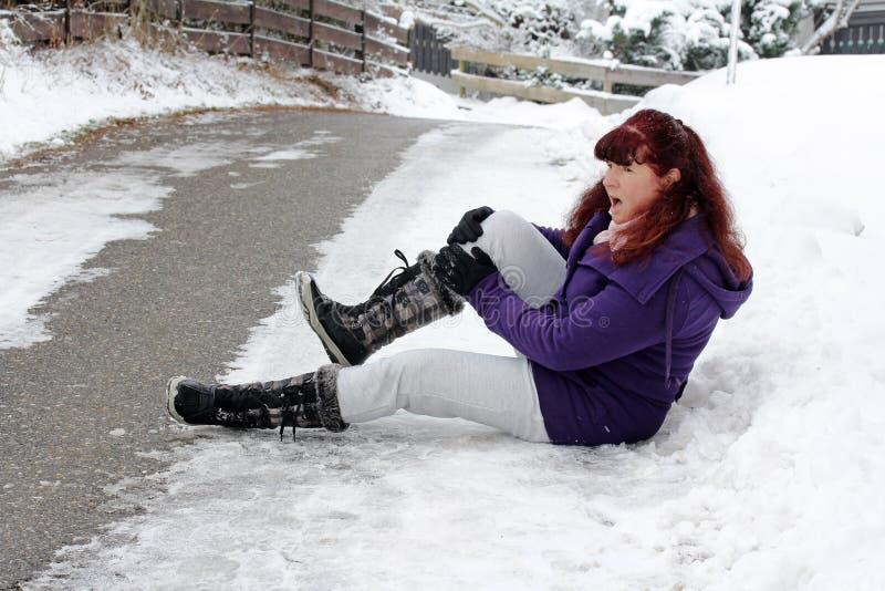 Riesgo de accidentes en invierno fotografía de archivo