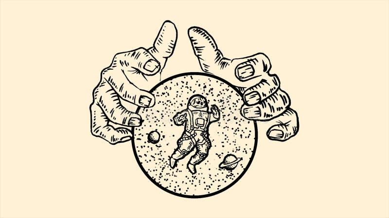 Riesige H?nde, die einen Bereich mit Sternen, Planeten und Astronauten auf beige Hintergrund halten animation einfarbige Abstrakt lizenzfreie abbildung