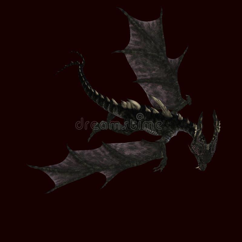 Riesiger erschreckender Drache mit Flügeln und Hupen stock abbildung