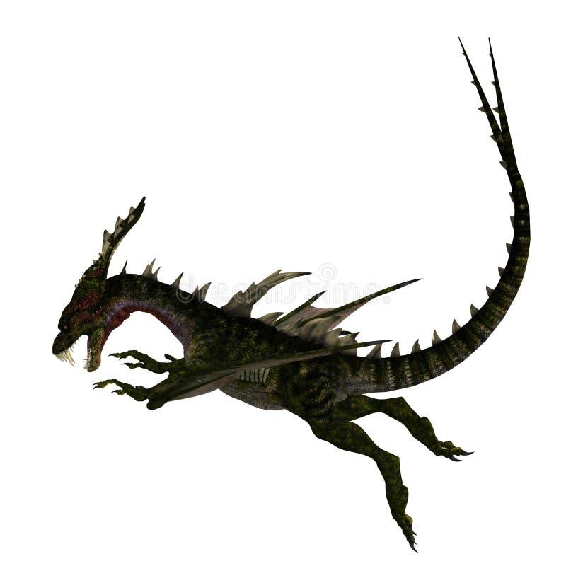 Riesiger erschreckender Drache mit Flügeln und Hupen vektor abbildung
