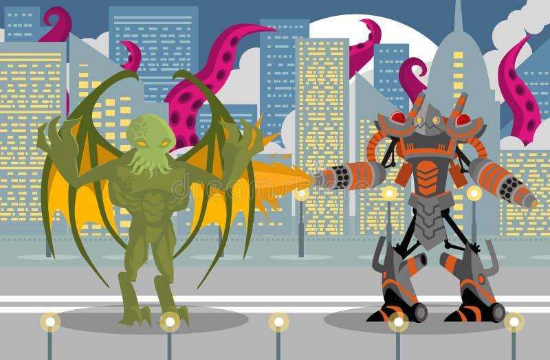 Riesiger Flammenwerferroboter, der ein cthultu Flügelspielerreptil-Tentakelmonster in der Stadt kämpft lizenzfreie abbildung