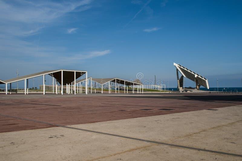 Riesiger Sonnenkollektor, Parc Del Forum, Barcelona, Katalonien, Spanien lizenzfreie stockfotografie