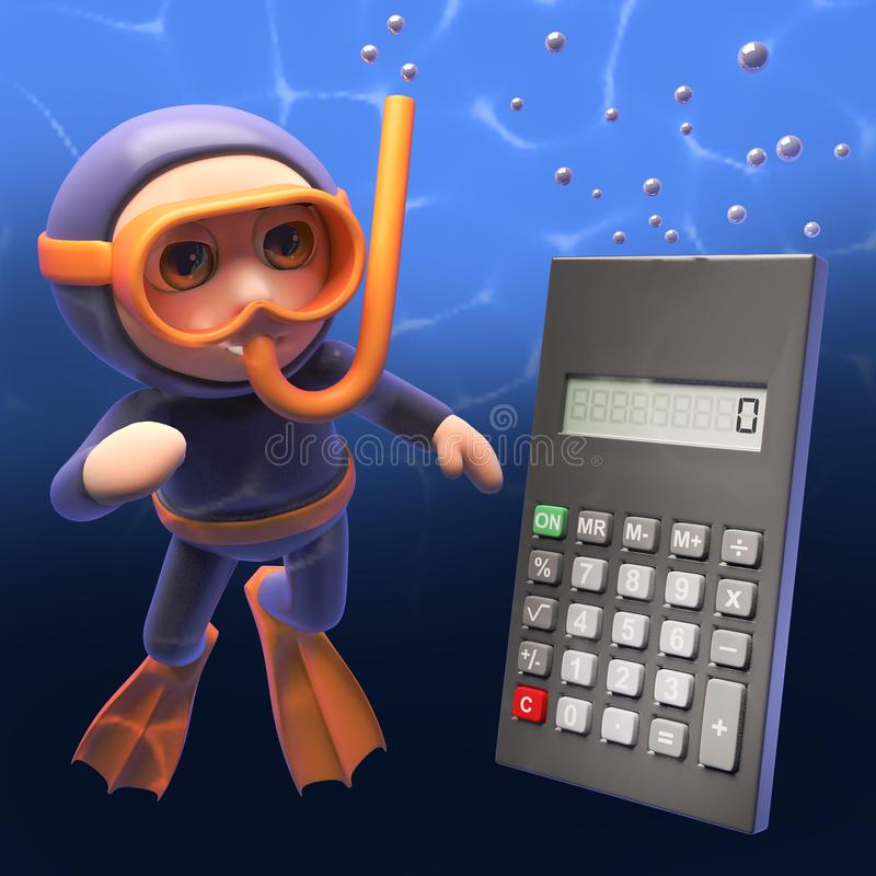 Riesiges digitales Taschenrechnerschwimmen bis zum Schnorcheltaucher, Illustration 3d vektor abbildung